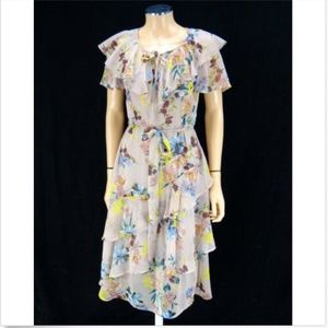 BAND OF GYPSIES Ruffle Dress Mauve Floral S